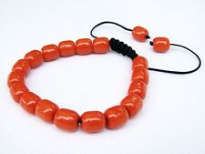 Mens Womens Coral beaded bracelet all 10x9mm Glass Beads
