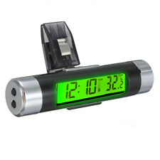 Green Backlight 2in1 Car Air Vent Clip-on Stick On Electronic Clock Thermometer