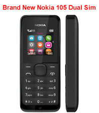 Microsoft Nokia 105 Dual Sim Black Unlocked Mobile Phone With 3 Pin UK Plug