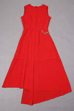 Victoria Beckham Wearing Big Swing Long Dress Red - KMWD442