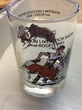 HOUSTON LIVESTOCK SHOW RODEO 1983 Coke MCDONALD'S GLASS clown cattle roping cowb