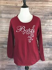 Motherhood Sleepwear Womens Top Size XL Red Baby Long Sleeve Crew Neck PJs