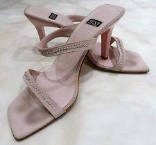 * VGC Next Baby Pink Diamante Suede Strappy High Heel Shoes Sandals Peep 8 42 *