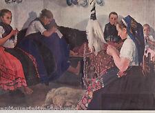 Ungarische Mädchen bei der Heimarbeit. Farbdruck erschienen im Jahr 1912