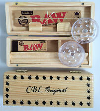 Wooden Rolling Roll Box & Raw Kingsize Slim Papers Tips Grinder Smoker Gift Idea