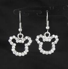 18K WHITE GOLD PLATED DISNEY MICKEY MOUSE DANGLE EARRINGS USE SWAROVSKI CRYSTALS