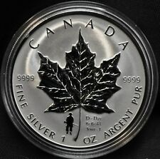 2004 Silver Maple Leaf RCM Commemorative D-Day $5 Privy in Box & COA