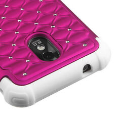 Sprint Samsung Galaxy S2 4G Hybrid Spot Diamond Case Skin Cover Hot Pink White