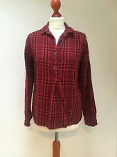 TOAST Ladies orange / black check shirt - 100% thick cotton - UK 12