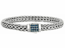Phillip Gavriel 925 Silver Rectangle Cluster 16 Blue Sapphires Weave Bracelet