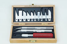 Excel Hobby Knives and Bades set in wooden box. Made in U.S.A.