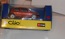2 x Burago 1:43 Scale Renault Clio Mk2 3dr Red/Orange Model Toy Car New Boxed