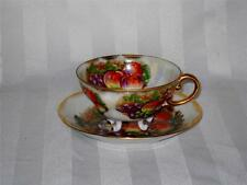 Royal Sealy Japan Fruit Orchard Mother of Pearl Porcelain Tea Cup & Saucer Set