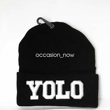 UNISEX MENS WOMANS KNIT KNITTED BEANIE RETRO COOL YOLO Black