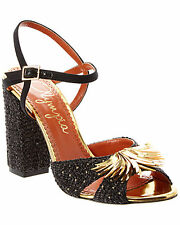 New in Box $1025 Charlotte Olympia Ferocious Sequin-Embellished Sandal  38.5