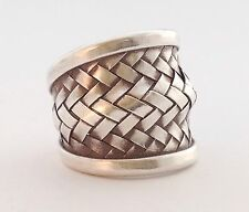 Mens Womens Sterling Silver 925 Basket Weave Amulet Boho Ethnic Ring Sz 8 9 10