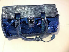 "Designer Style Women/ Ladies Handbag Purse "" 9 H x 15""L Bag BLUE"
