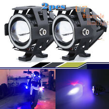 2X 125W Black Motorcycle CREE U7 LED Headlight Spot Light For BMW Blue Eyes