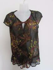 NEXT Ladies Green Floral Pattern Sheer Top Ruffle Frill Sequins Tan Trim Size 12