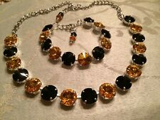 Swarovski Crystal Elements Black & Gold Bracelet Necklace 12mm Silver Cup Chain