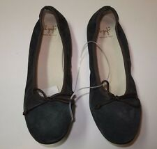 BNWT Beautiful Designer IL GUFO Girls Green Suede Ballet Flats Shoes 38 ITALY