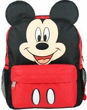 """Mickey Mouse Ears Face Square 12"""" inches backpack Red- Black -Disney Licensed"""