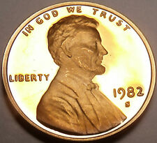 BLAZING RED 1982-S VERY SCARCE LINCOLN CENT PROOF~FR/SH