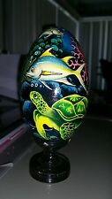 Bali Hand Painted Wooden Egg with Stand Box #TURTLE/SHARK/FISH# - FAST POST