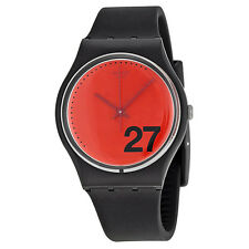 Swatch Generation 27 Red Dial Black Silicone Ladies Watch GB276