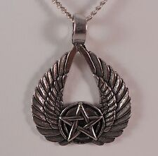 WINGED PENTACLE NECKLACE PENTAGRAM SATANIC GOTHIC WICCAN OCCULT WINGS