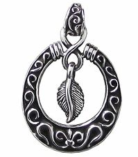 FEATHER in Hoop PENDANT 925 Sterling SILVER 42mm Drop