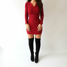 Boutique Red Ribbed Button Bodycon Rare Knit Jumper Short Mini Dress 8 10 12