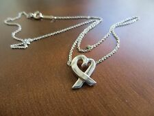 """Authentic Tiffany & Co.by Paloma Picasso Heart pendant Sterling Necklace 16"""""""