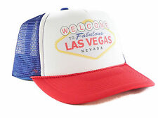 Las Vegas Trucker Hat mesh hat snapback hat red white and blue