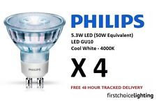 4 x Philips 5.3W (50W) Low Energy GU10 LED Spot Lamps Bulbs Cool White 4000K