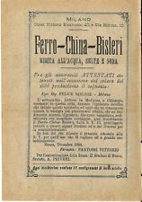 Stampa antica pubblicità FERRO CHINA BISLERI bevanda 1889 Antique print