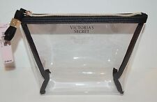 VICTORIA'S SECRET VS BLACK CLEAR PLASTIC MAKEUP COSMETIC BEAUTY BAG POUCH CASE