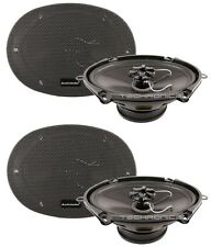 "2 X PAIR AUDIOBAHN AMS680H 6X8"" / 5X7"" 190W MURDERED OUT CAR AUDIO SPEAKERS"