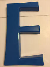 """Vintage """"E"""" Blue Plastic Marquee Letter Sign Grocery 13 3/8 inches tall"""