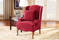 Stretch Pique Wing Chair Slipcover sure fit Garnet
