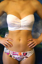 New Victorias Secret Long Line Bandeau Push Up White Lace Bikini Sz 32B XS