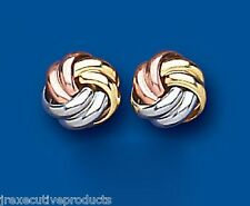 9ct Three Colour Gold Knot Stud Earrings 8mm (1645)