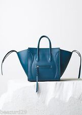 *NEW* $3100 CELINE MEDIUM LUGGAGE PHANTOM HANDBAG METALLIC BLUE CALF *AUTHENTIC*