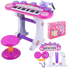 37 Key Kids Musical Electronic Keyboard Organ Piano Microphone Synthesizer Stool