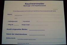 Wartungsheft für Rauchwarnmelder, Dokumentation nach DIN 14676, Serviceplan. NEU