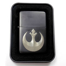 Rebel Symbol Star Wars Black Engraved Cigarette Metal Lighter Gift LEN-0113