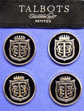 """4 TALBOTS silver tone heavy solid metal enameled """"T"""" logo blalzer jacket buttons"""