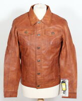 'TRUCKER' Denim New Men's WAXED Tan Napa Soft Real Western Leather Rock Jacket