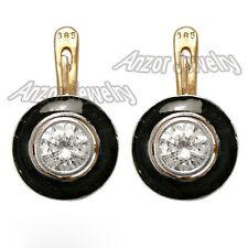 Russian Style White Sapphire Black Enamel Earrings 14k 585 #E996