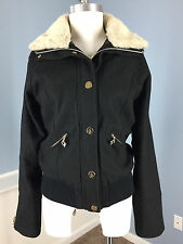 Baby Phat Faux Fur Collar Black Wool Blend Coat Jacket Excellent M Winter